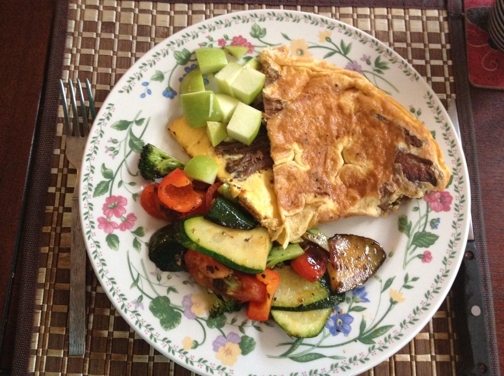 Breakfast: 3 eggs, slow cooked1632